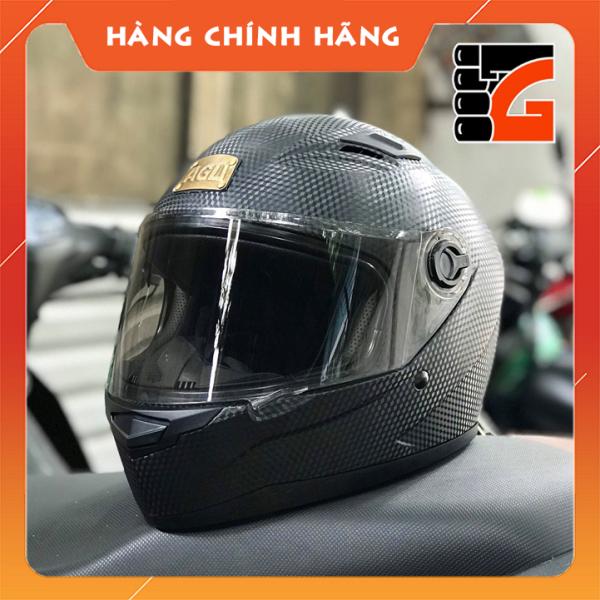 Mũ Bảo Hiểm Full face AGU Đen vân Carbon logo đồng kính trong - khói