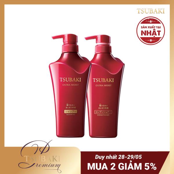 Bộ đôi gội xả siêu cấp ẩm Tsubaki Extra Moist 500ml/chai chăm sóc tóc từ gốc đến ngọn giữ tóc vào nếp trong một thời gian dài