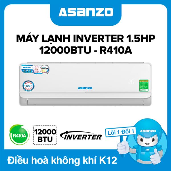 Máy Lạnh Asanzo Inverter K12A 12000BTU (1.5HP) Phù Hợp Diện Tích 16-22m² (Siêu Tiết Kiệm, Làm Lạnh Nhanh, Tự Điều Chỉnh Nhiệt Độ, Lọc Không Khí) Máy lạnh giá rẻ - Bảo Hành 2 Năm