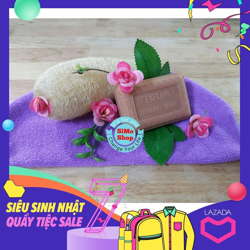 Combo Tẩy tế bào chết - Massage cơ thể (1 xơ mướp khô + 1 cục xà phòng trầm Đàn Hương Bee - Flower brand) bản giới hạn tốt nhất