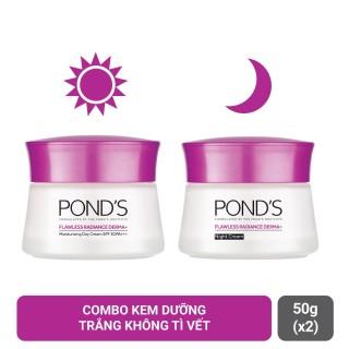 Combo Kem Pond s Dưỡng Ẩm Trắng Da Cao Cấp Flawless Radiance Derma+ Ngày 50g + Đêm 50g thumbnail