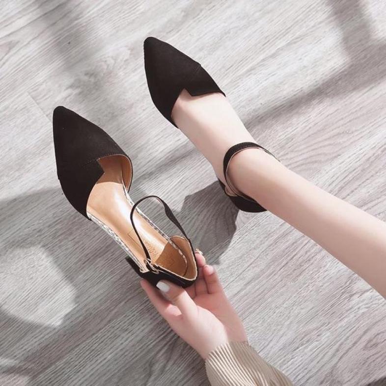 Giày cao gót vuông 5p bảng xếp da lộn giá rẻ