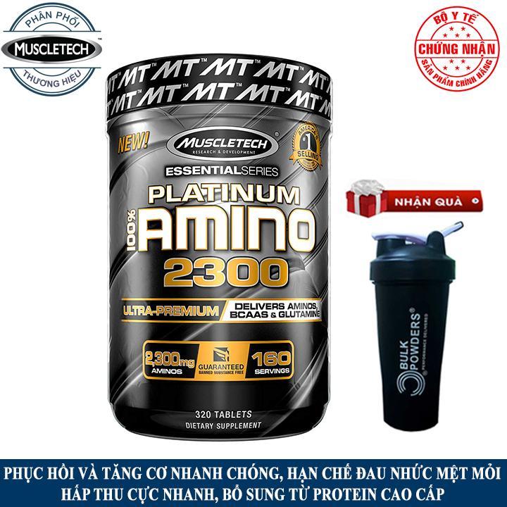 [TẶNG BÌNH SHAKER] Thực phẩm bổ sung Platinum 100% Amino 2300 của Muscle Tech hộp 320 viên hỗ trợ phục hồi và tăng cơ, tăng sức bền sức mạnh, giảm cân, giảm mỡ bụng cho người tập thể hình, tập gym - phân phối chính thức nhập khẩu