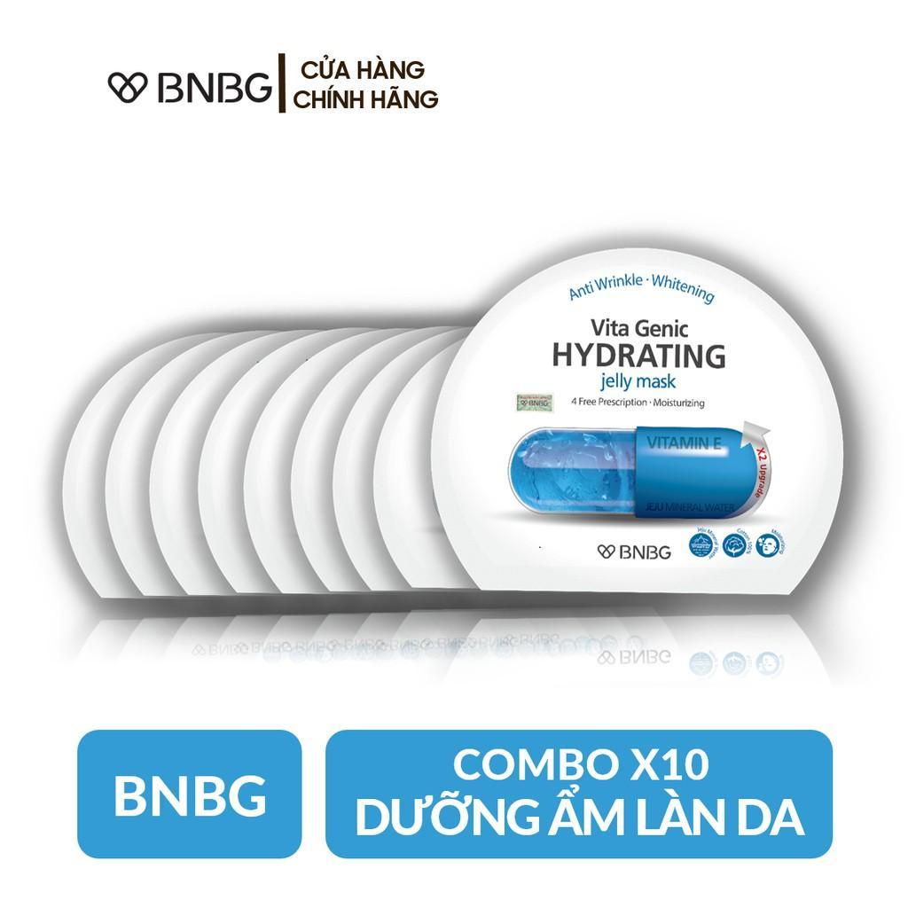 Combo 10 Mặt nạ giấy cấp nước dưỡng ẩm da mềm mượt, căng bóng BNBG Vita Genic Hydrating Jelly Mask (Vitamin E) 30ml x10