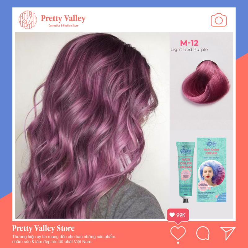 Kem nhuộm tóc cao cấp màu hồng tím sáng Molokai 60ml [ TẶNG KÈM GĂNG TAY + CHAI OXY TRỢ DƯỠNG TÓC ] giá rẻ