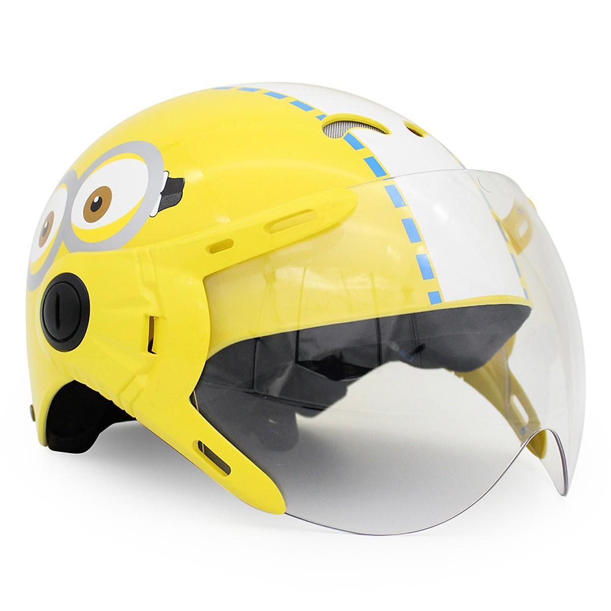 Giá bán Mũ Bảo Hiểm Trẻ Em 1/2 Đầu Có Kính Protec Kitty Minion
