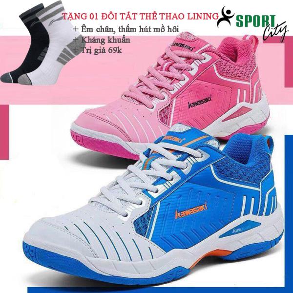 Giày cầu lông Kawasaki K162 màu trắng xanh, chống lật cổ chân, dành cho nam và nữ, đủ size - Giày nữ - Giày cầu lông - Giày bóng chuyền