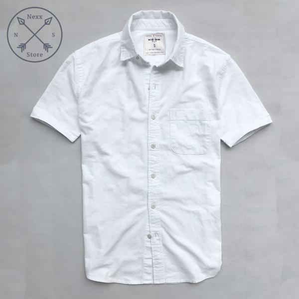 Áo sơ mi ngắn tay nam, áo sơ mi nam regular fit chất liệu oxford 100% cotton