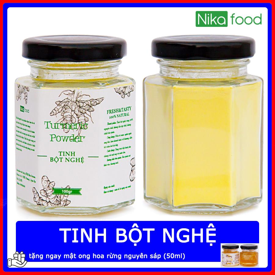 Nikafood Tinh Bột Nghệ Vàng 100gr Tặng Mật Ong Hoa Rừng Nguyên Sáp Giảm Cực Đã