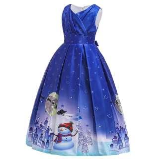 Váy Giáng Sinh Cho Bé Gái Người Tuyết Ông Già Noel Hươu Bông Tuyết Công Chúa Váy Dạ Hội