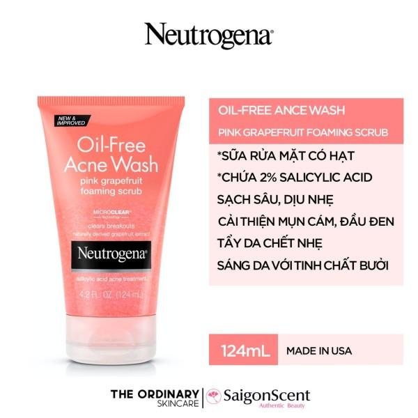 Sữa rữa mặt Neutrogena Oil Free Acne Wash Pink Grapefruit Foaming Scrub ( 124mL )