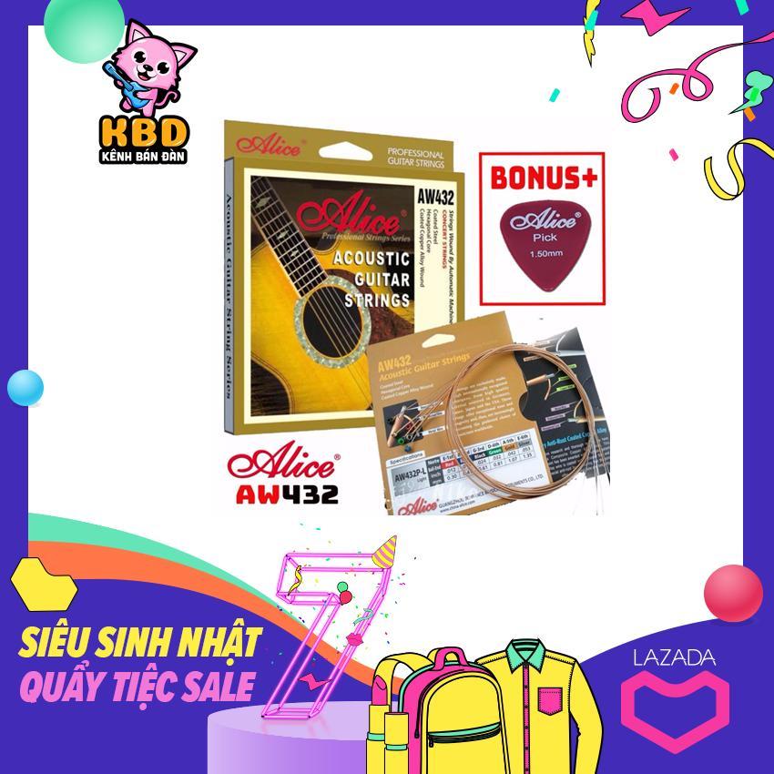 Bộ Hộp 6 Dây Đàn Ghi-ta Acoustic Alice-A-432 Cao Cấp, Bonus + Pick Alice Giảm Cực Hot