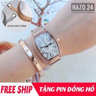 Đồng hồ nữ, đồng hồ dây kim loại nữ, đồng hồ dây nam châm nữ MOBANGTUO mặt bầu dục nạm đá cực sang, dây hít nam châm HOT2019 ( tặng pin ) thumbnail