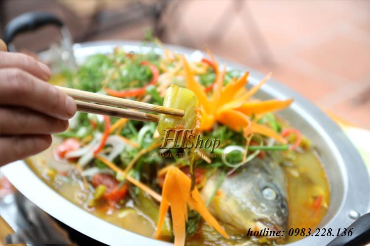 Khay nấu lẩu cá om dưa inox dùng cho bếp từ bếp ga