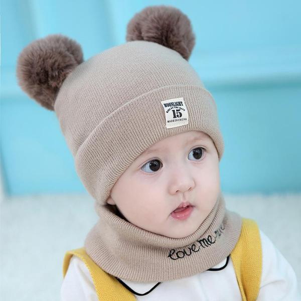 Mũ len trẻ em 2 quả bông kèm khăn quàng cổ cho bé dưới 5 tuổi