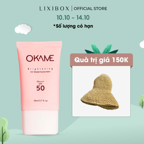 Kem Chống Nắng Nâng Tone Dạng Sữa Okame Brightening UV Shield Sunscreen SPF 50/PA++++ 50ml