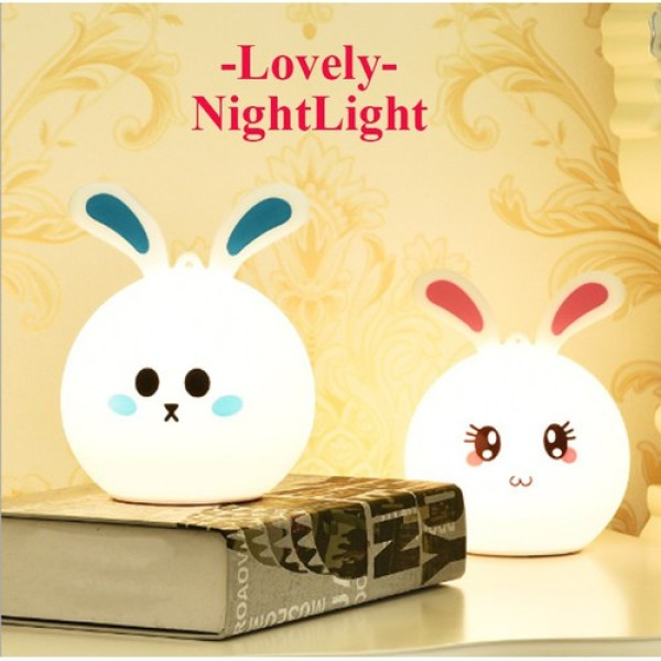 Đèn Ngủ LED Silicon Rabbit Đèn Vỗ Thông Minh 7 Màu Cho Đầu Giường Trẻ Em Cảm Ứng Cảm Biến Tap Dễ Thương Vật Nuôi Chiếu Sáng