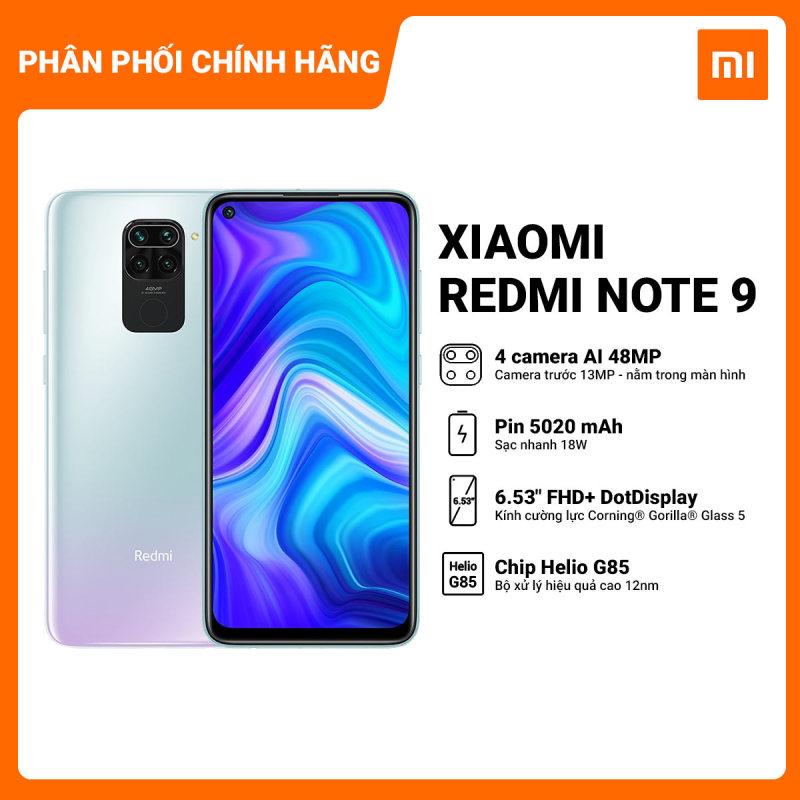 Bảo hành chính hãng 18 tháng   Trả góp 0%   Điện thoại Redmi Note 9 3GB/64GB - Chip Helio G85 8 nhân mạnh mẽ Pin trâu 5020mAH sạc nhanh 18W Màn hình 6,53 Full HD+