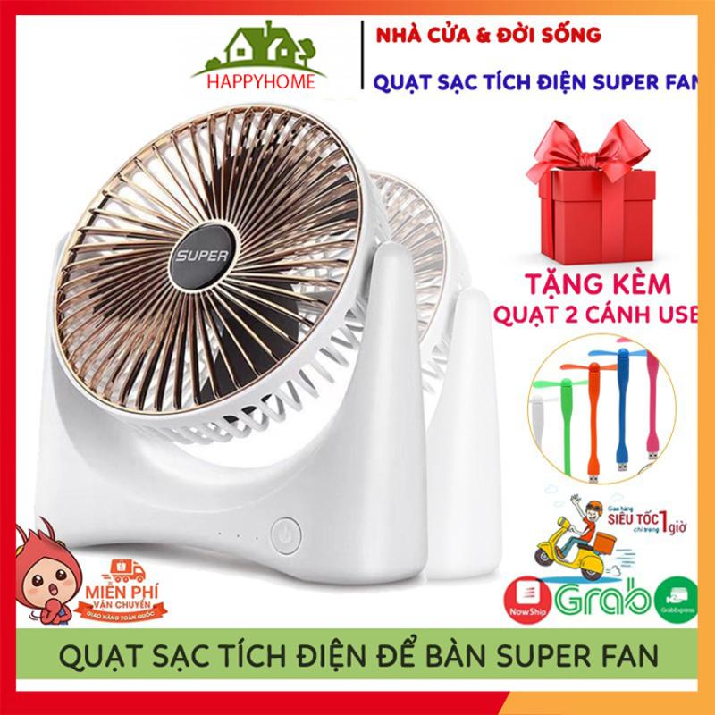 🔥QUÀ TẶNG🔥 Quạt Mini Để Bàn Sạc Tích Điện Super Fan, 3 Chế Độ Mát, Để Bàn Làm Việc, Ô Tô... Bảo Hành 12 Tháng