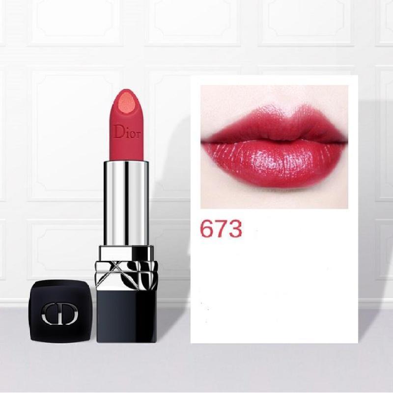 Son Dior Double Rouge 673 Pulsing Red màu đỏ hồng và hồng cam