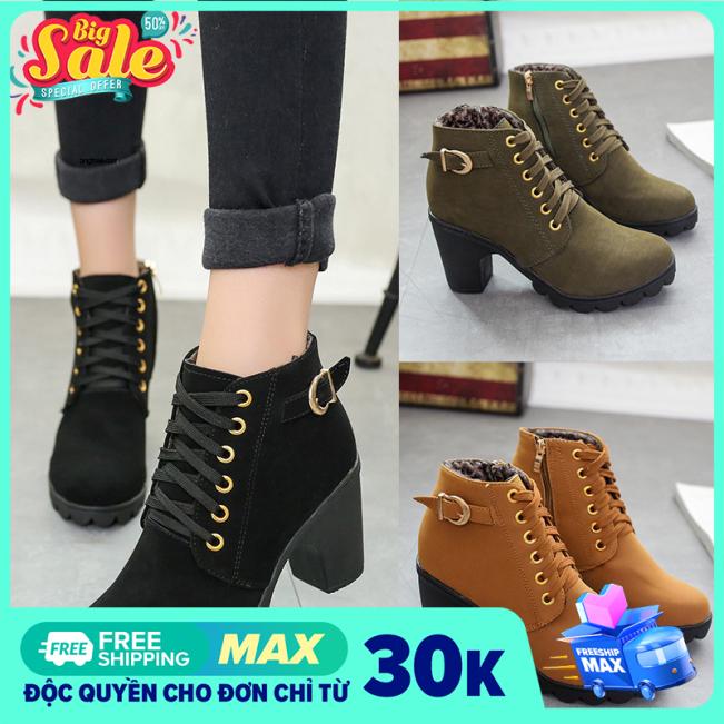 Giày boot nữ, bốt nữ Da lộn Đế vuông cao 7 phân Khóa chéo quai ngang Thiết ké thời trang, phong cách Phù hợp với mọi lứa tuổi giá rẻ