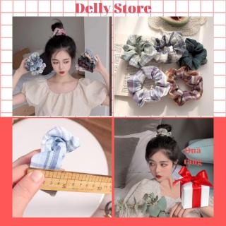 Dây buộc tóc,scrunchies họa tiết caro cho nữ bé gái Delly store phong cách nhẹ nhàng cho nữ nhiều mẫu mới thumbnail