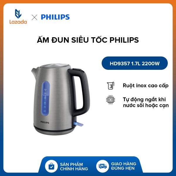 Bảng giá Ấm Đun Siêu Tốc Philips HD9357 1.7L 2200W - Hàng phân phối chính hãng - Ruột inox cao cấp, tự động ngắt khi nước sôi hoặc cạn Điện máy Pico