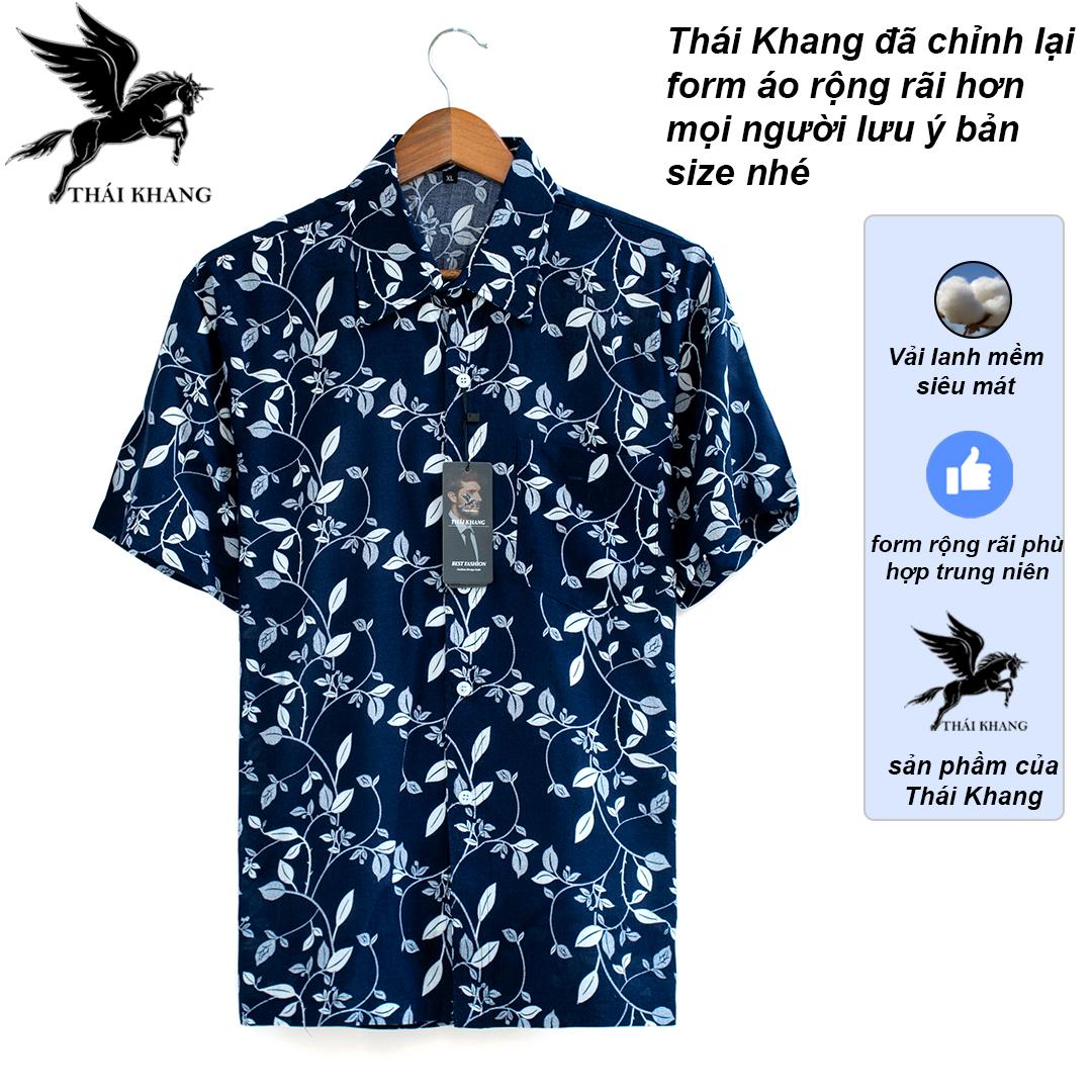 Sơ mi nam ngắn tay trung niên vải lanh cực mát loại áo sơ mi nam đại gia họa tiết sang trọng OG2