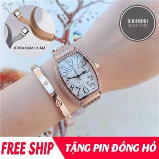 Đồng hồ nữ, đồng hồ dây kim loại nữ, đồng hồ dây nam châm nữ mobangtou mặt bầu dục nạm đá sang trọng, dây hít nam châm HOT2019 ( tặng pin ) thumbnail