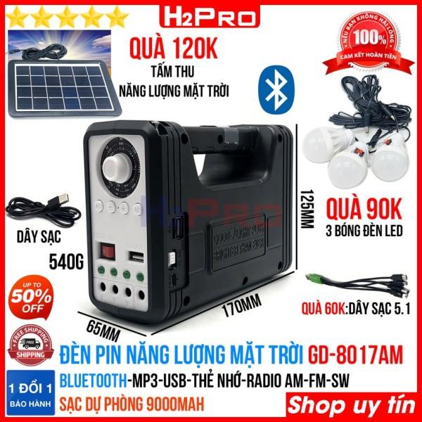 Đèn pin năng lượng mặt trời GD-8017AM H2Pro cao cấp đa năng Bluetooth-radio-Mp3-pin sạc dự phòng 9000mah ( tặng bộ quà 270K:3 bóng đèn + 1 tấm pin năng lượng mặt trời + 1 dây sạc 5 trong 1)