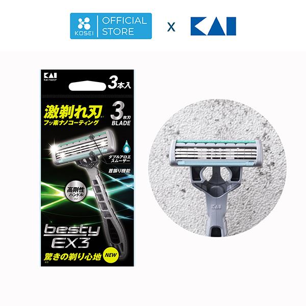 DAO CẠO KAI BESTY EX3( vỉ 3 cái) - MADE IN JAPAN giá rẻ