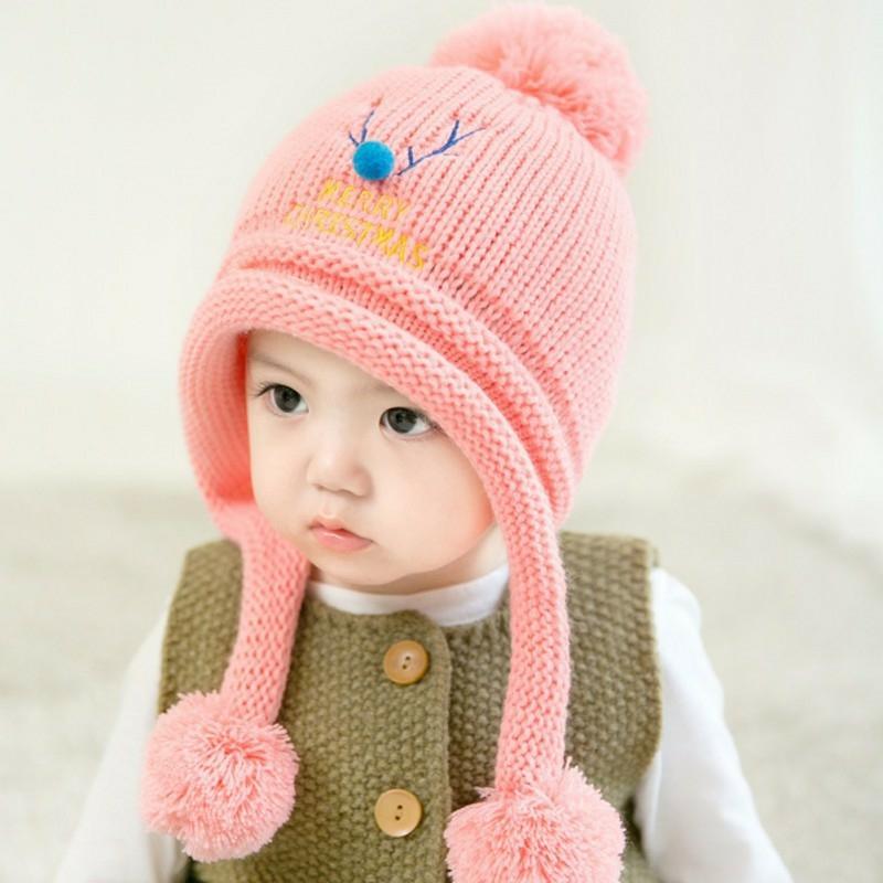 Giá bán Mũ len che tai thêu họa tiết tuần lộc đáng yêu cho bé(6 tháng-3tuổi)