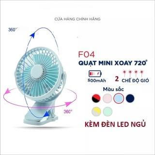 [SIÊU SỐC] Quạt sạc mini xoay góc 720 độ kèm đèn led dùng làm đèn ngủ, đế kẹp đa năng hoặc đặt bàn, an toàn cho trẻ với 2 nấc điều chỉnh gió thumbnail