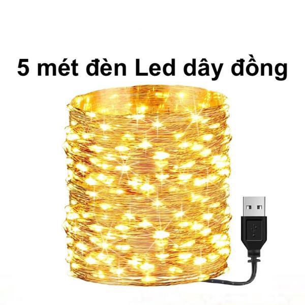 5m Dây Đèn Led Trang Trí, Đèn Led Dây Đồng Không Chớp Nháy Fairy Light / Đèn đom đóm sử dụng nguồn điện 5v USB trang trí giáng sinh noel, năm mới, sinh nhật