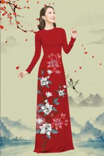 Áo dài truyền thống nữ in Lan Trầm Lai cao cấp - KHÔNG KÈM QUẦN thumbnail