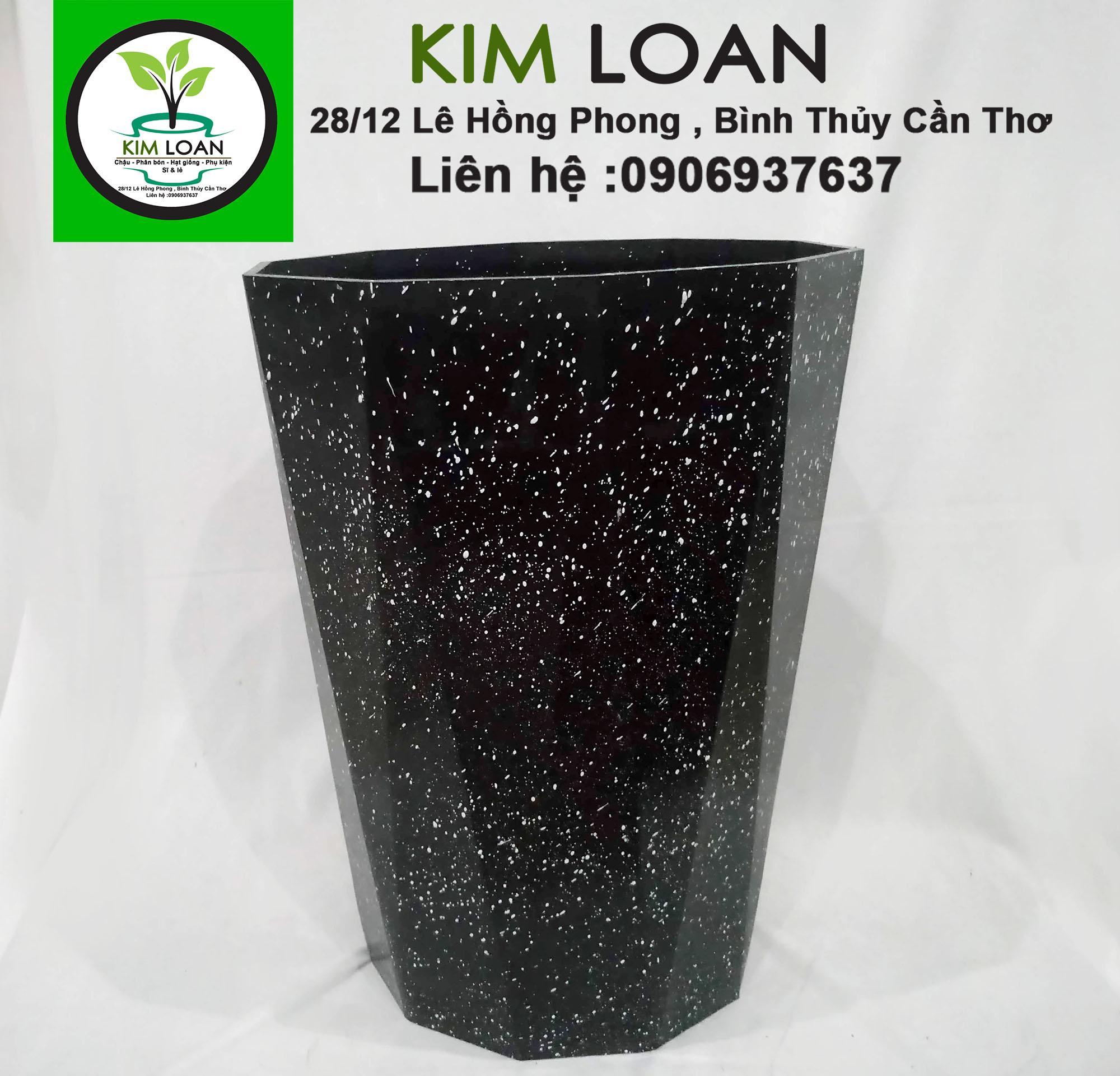 Combo 2 chậu ống kim cương vân đá đen 30x40cm