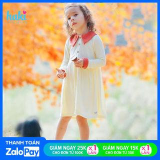 Váy bé gái len dài tay phối màu xinh yêu, váy cho bé gái vải dệt kim cao cấp các size từ 2-8 khoảng 10-26kg HAKI HK500; đầm bé gái dài tay; đầm xinh cho bé
