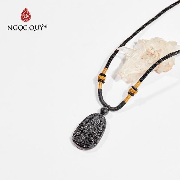 Mặt dây chuyền Phật bản mệnh đá obsidian Thiên Thủ Thiên Nhãn tuổi Tý 3.6 x 2.3cm (màu đen) - Ngọc Quý Gemstones