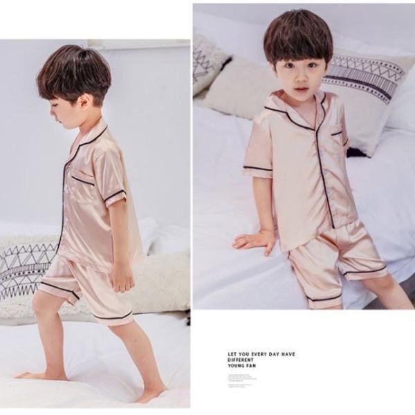 Nơi bán Đồ Ngủ Pijama Lụa Trẻ Em Cho Màu Hồng Bé Trai Bé Gái Mặc Ở Nhà Từ 12 - 34kg - Quần Áo Ngủ Mùa Hè Cho Bé