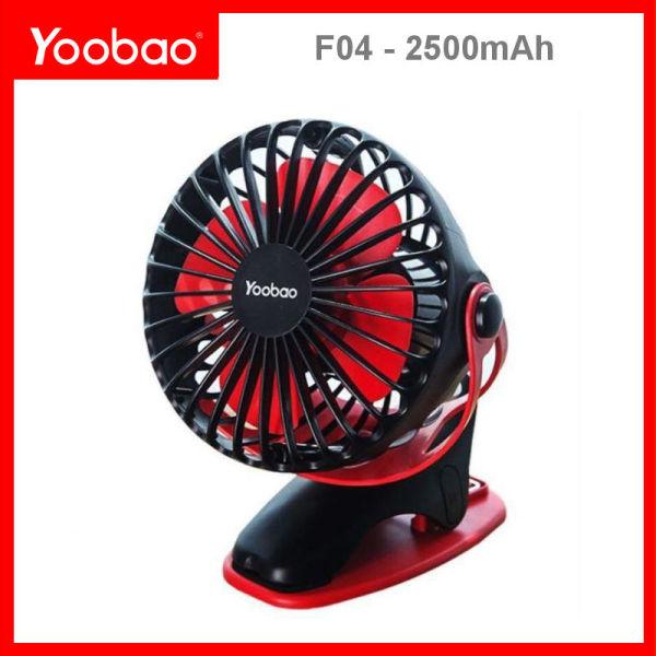 Quạt sạc mini xoay góc 720 độ, đế kẹp đa năng hoặc đặt bàn, an toàn cho trẻ với 4 nấc điều chỉnh gió (2500mAh) YOOBAO F04