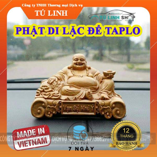 Tượng gỗ Phật Di Lặc để taplo ô tô hoặc bàn làm việc. (Gỗ Bách xanh huyết long ngọc am)
