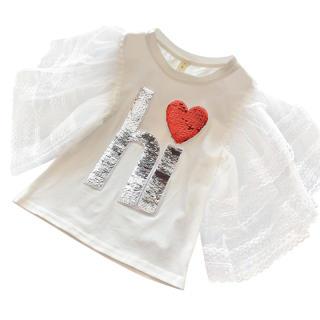 Áo thun cotton tay ren mặc hằng ngày cho bé gái từ 3-8 tuổi - INTL
