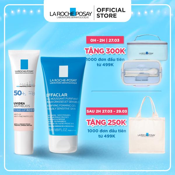 Bộ Kem chống nắng giúp làm sáng và đều màu da, bảo vệ La Roche-Posay Anthelios Uvidea Tone-up Rosy SPF50+