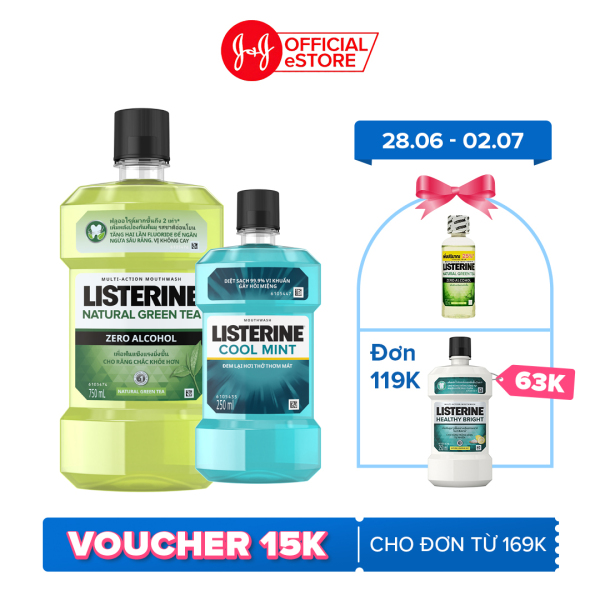 Nước súc miệng Listerine Trà Xanh Greentea Zero Không Cay 750ml Tặng Nước súc miệng Coolmint 250ml -101016577 giá rẻ