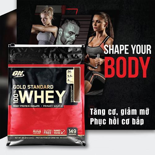 ON GOLD STANDARD 100% WHEY 10LBS - 4.54 KG - Tăng cơ, giảm mỡ cho thể thao, gym, yoga, fitness + Khăn tập sợi tự nhiên cao cấp
