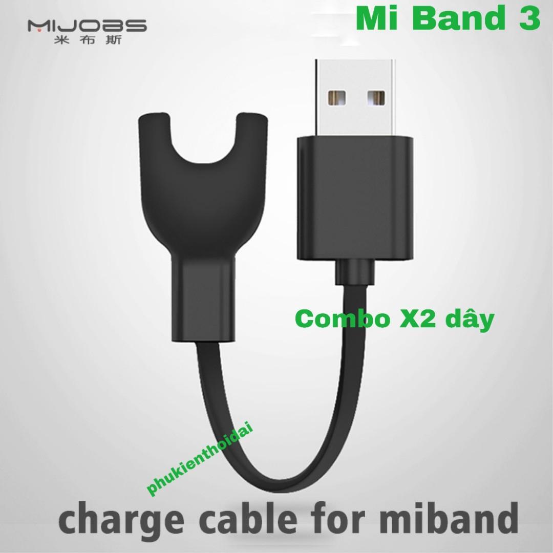 Combo Hai dây sạc thay thế Xiaomi Mi Band 3 cao cấp Hãng Mijobs như dây gốc