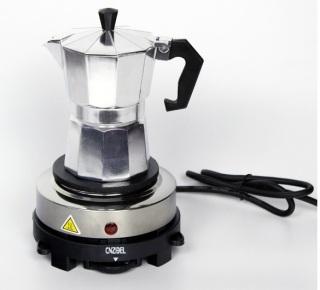 Combo Bếp điện mini 500w và bình pha cà phê Moka Pot, Máy pha cà phê(cafe), ấm pha cà phê cho gia đình, văn phòng thumbnail