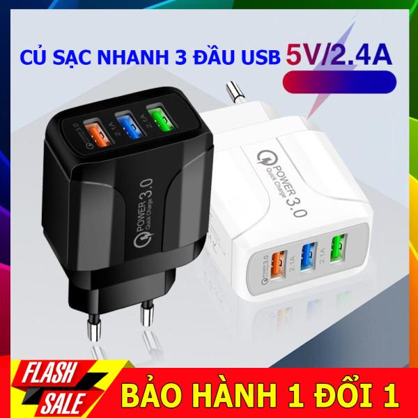 Giá Củ sạc nhanh 3 cổng USB công nghệ sạc nhanh 2.5A phù hợp cho tất cả các dòng điện thoại iphone, sam sung, huawi, redmi….