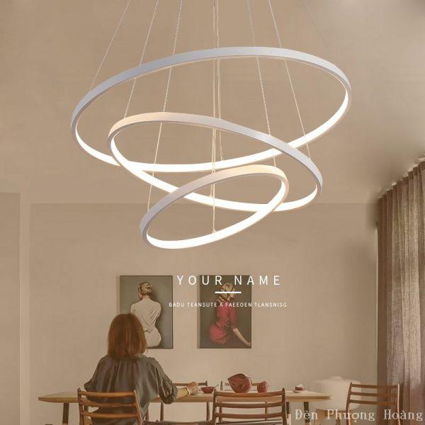 Đèn thả trần led tích hợp trang trí phòng khách bàn ăn Led 3 chế độ màu - Có remote