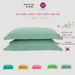 Vỏ gối nằm cotton 100% GRAND, thấm hút, sợi mịn nhỏ cao cấp, áo gối nằm Hàn quốc 45 65 cm (xanh ngọc) thumbnail